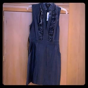 Bebe Ruffle Tencel Dress Dark in Denim Wash